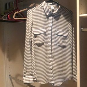 Striped sheet button down blouse